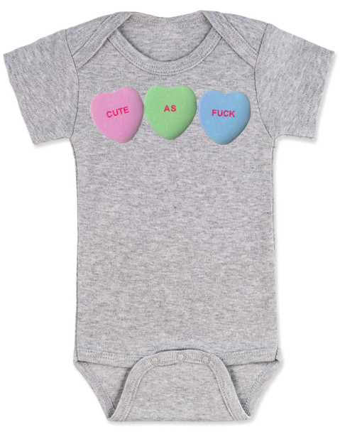 Cute as F baby Bodysuit, Funny Candy Hearts Bodysuit, Valentines Day baby bodysuit, Valentine's Day hearts, Baby valentine creeper, Offensive candy heart baby onsie, grey