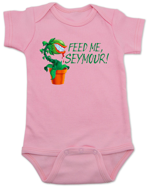 Feed Me Seymour baby Bodysuit, Little Shop of Horrors, Funny movie baby Bodysuit, classic movie infant bodysuit, Audrey plant, Venus fly trap, rick moranis, hangry baby, hungry baby onsie, pink