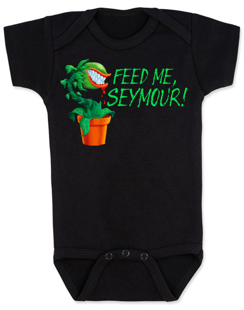 Feed Me Seymour baby Bodysuit, Little Shop of Horrors, Funny movie baby Bodysuit, classic movie infant bodysuit, Audrey plant, Venus fly trap, rick moranis, hangry baby, hungry baby onsie, black