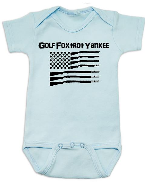 Golf Foxtrot Yankee, Military baby Bodysuit, Go Fuck Yourself, American Flag onsie, blue