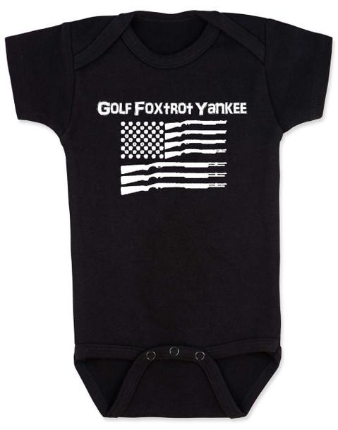 Golf Foxtrot Yankee, Military baby Bodysuit, Go Fuck Yourself, American Flag onsie, black