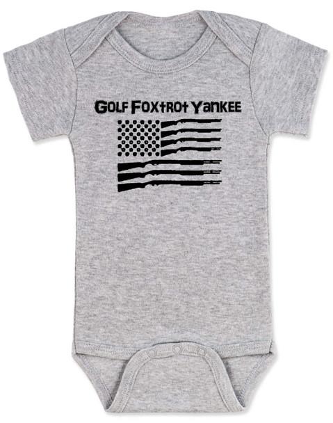 Golf Foxtrot Yankee, Military baby Bodysuit, Go Fuck Yourself, American Flag onsie, grey