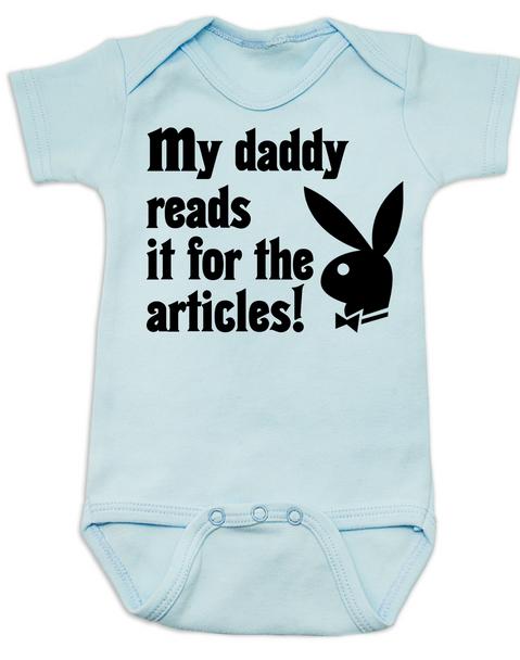 Playboy baby Bodysuit, Playboy bunny infant bodysuit, Playboy baby onsie, My Daddy Reads playboy for the articles, I read it for the articles, Funny playboy magazine baby gift, blue