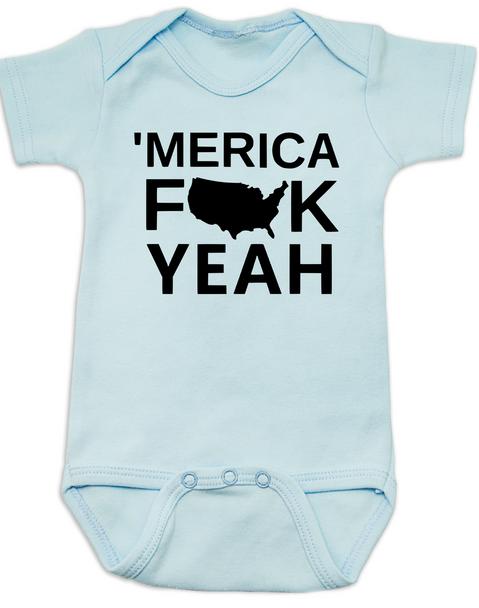 Merica, America Fuck Yeah baby Bodysuit, offensive patriotic baby onsie, 4th of july, memorial day, veterans day, united states hell yeah, Merica fuck yeah, blue