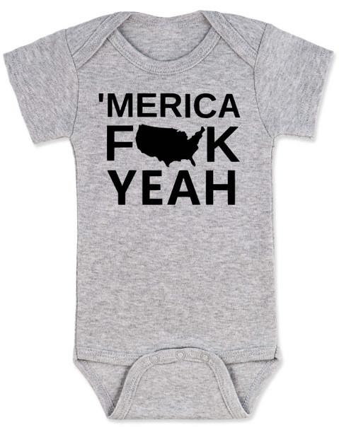 Merica, America Fuck Yeah baby Bodysuit, offensive patriotic baby onsie, 4th of july, memorial day, veterans day, united states hell yeah, Merica fuck yeah, grey