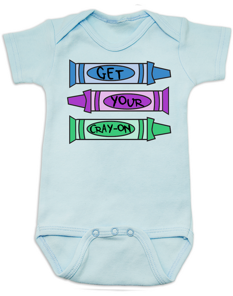 Get your Cray-on baby Bodysuit, Cray Cray Baby Onsie, Crayon, Blue