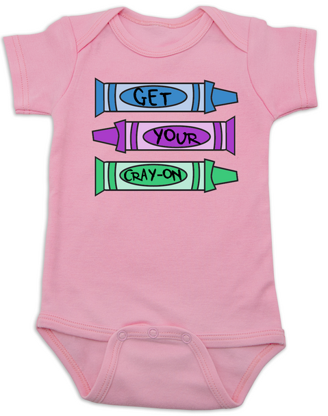 Get your Cray-on baby Bodysuit, Cray Cray Baby Onsie, Crayon, Pink