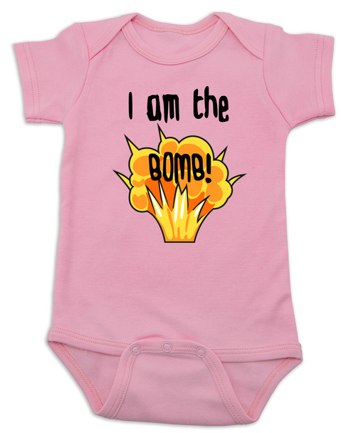I am the bomb baby Bodysuit, I'm the bomb baby onsie, Bomb ass baby, pink