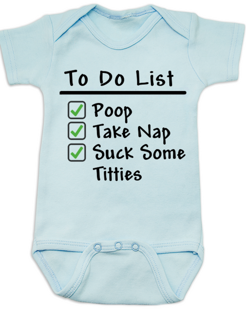 To Do List baby Bodysuit, funny breast feeding baby onsie, blue