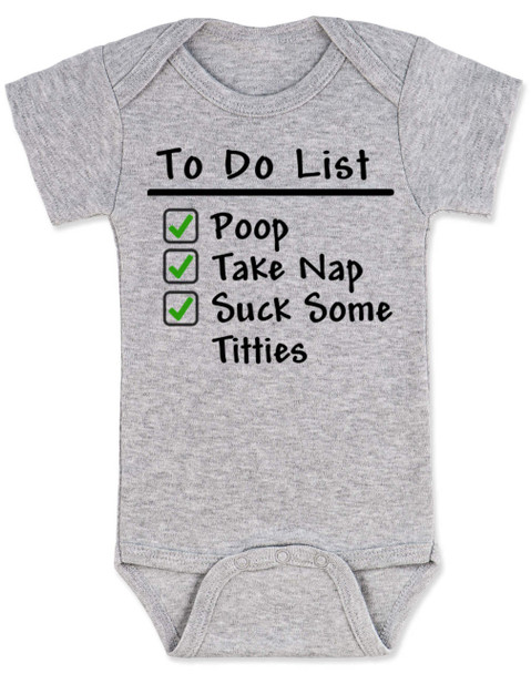 To Do List baby Bodysuit, funny breast feeding baby onsie, grey
