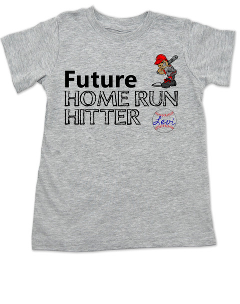 Future Home Run Hitter toddler shirt, Future Baseball Player, Play Ball, Boy Baseball player,  Sports toddler t-shirt, personalized with custom name, grey