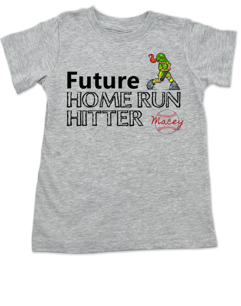 Future Home Run Hitter toddler shirt, Future Baseball Player, Play Ball, Girl Softball player,  Sports toddler t-shirt, personalized with custom name, grey