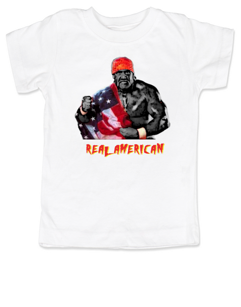 Real American toddler shirt, Hulk Hogan toddler t-shirt, American Pride, Hulk, Hogan, wrestling, wwf, wcw, hulkamania, patriotic kid clothes, 4th of july toddler shirt, memorial day toddler shirt, veterans day toddler shirt, cheesy baby shower or birthday gift, red white and blue kid, America kid, white