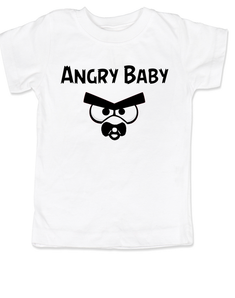 Angry Birds toddler shirt, angry toddler t-shirt, funny video game kid clothes, angry baby, white