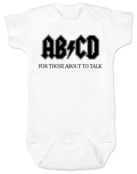 ABCD, For those about to talk, AC/DC baby Bodysuit, for those about to rock, classic rock baby onsie, band Bodysuit