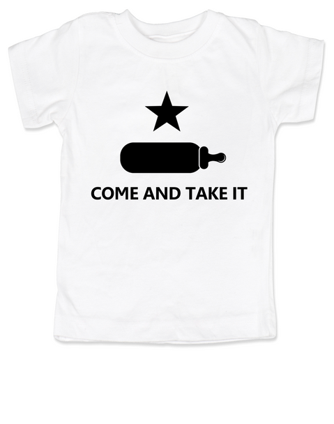 Come and take it toddler shirt, kid Texas Proud, Southern State Pride toddler shirt, Funny Texas toddler t-shirt, redneck kid, born in the south, gun rights, second amendment, Texas revolution, battle of Gonzales, right to bear arms toddler shirt, white