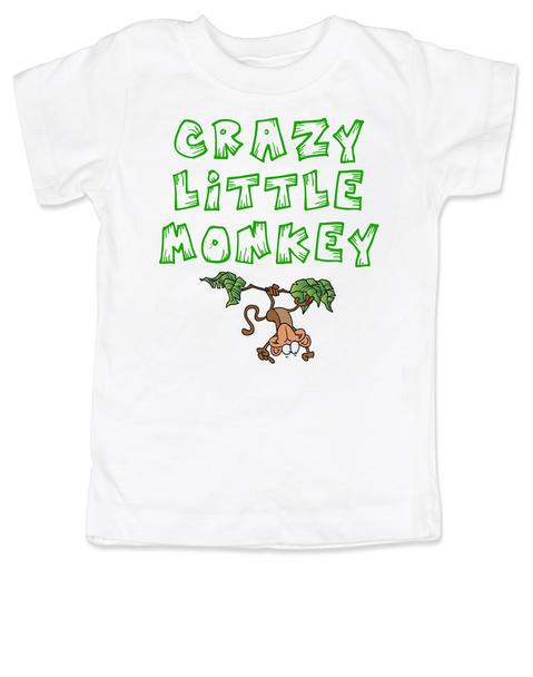 Crazy Little Monkey toddler shirt, Silly monkey, crazy toddler, wild child, crazy kid shirt, white