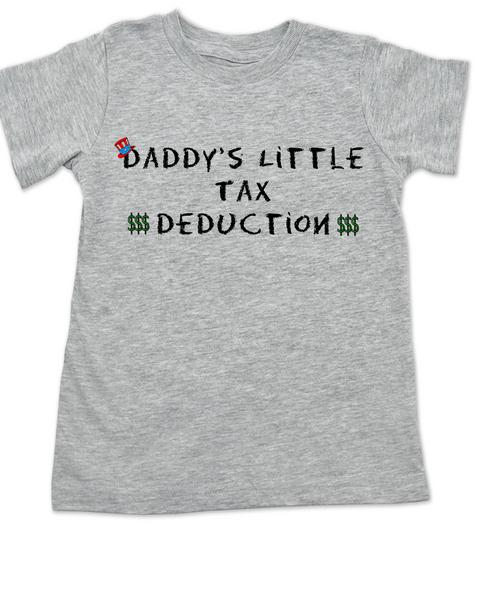 Daddy's Little Tax Deduction toddler shirt, Dads tax deduction, Uncle Sam, funny tax time toddler t-shirt, grey