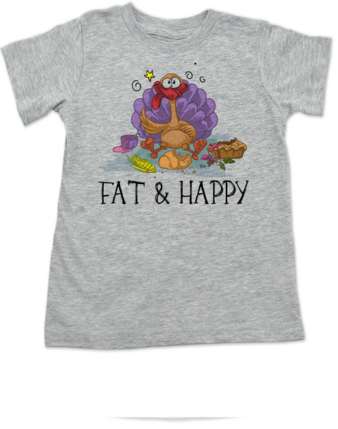 Fat and Happy toddler shirt, Thanksgiving toddler t-shirt, thanksgiving toddler shirt, funny turkey, Fat & Happy, grey