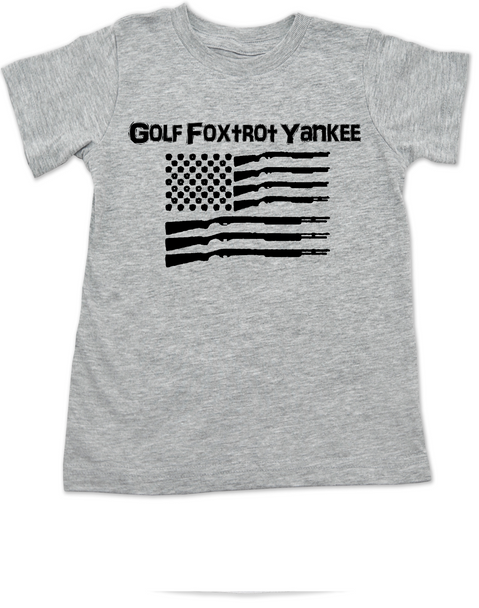 Golf Foxtrot Yankee, Military toddler shirt, Go Fuck Yourself, American Flag toddler t-shirt, grey