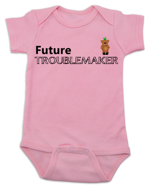 Future Troublemaker Baby Bodysuit, Personalized funny baby onsie, Strong Willed Child, Trouble Maker, pink