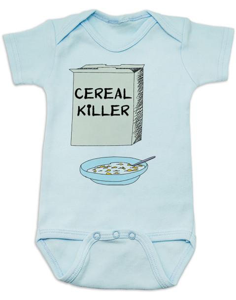 Cereal Killer baby Bodysuit, horror movie baby onsie, bowl of cereal, Cereal Killer, Punny baby, blue