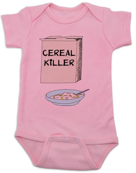 Cereal Killer baby Bodysuit, horror movie baby onsie, bowl of cereal, Cereal Killer, Punny baby, pink