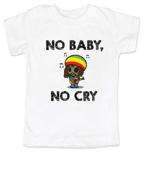 Bob Marley toddler shirt, No baby No Cry, Reggae Music kid t shirt, Rock n Roll kid clothes, Jamaican kid Lullaby, No woman no cry toddler shirt, Reggae toddler t-shirt white