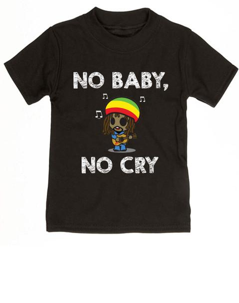 Bob Marley toddler shirt, No baby No Cry, Reggae Music kid t shirt, Rock n Roll kid clothes, Jamaican kid Lullaby, No woman no cry toddler shirt, Reggae toddler t-shirt black