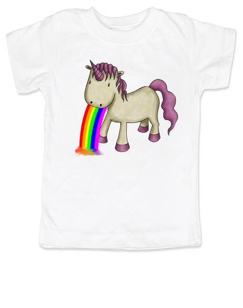 Unicorn Rainbow Vomit toddler shirt, funny unicorn toddler shirt, badass unicorn kid t-shirt, badass little girl shirt, rainbow vomit kid shirt, white