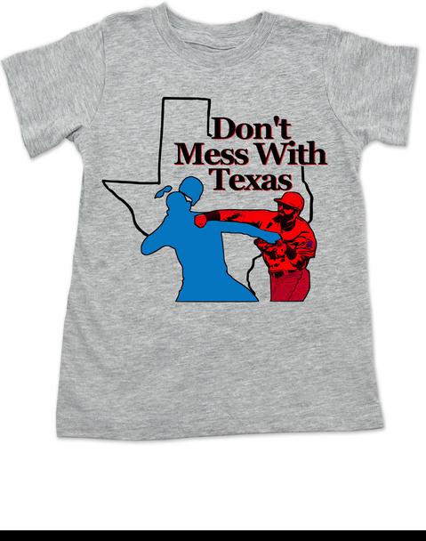 don't mess with texas toddler shirt, texas rangers punch, rougned odor, jose bautista, funny baseball toddler shirt, Texas baseball punch, funny texas ranger toddler shirt, grey