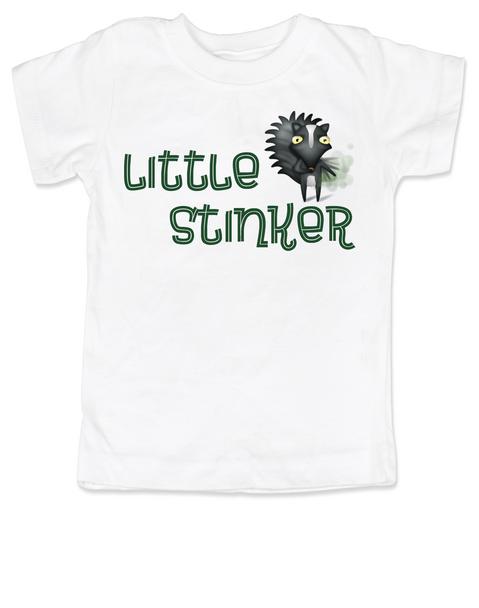 Little Stinker toddler shirt, Stinky toddler t-shirt, cute funny skunk kid shirt, stinker kid tshirt, white