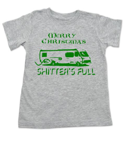 Shitter's full toddler shirt, Christmas Vacation movie toddler t-shirt, Shitter's Full Clark, Funny Christmas Toddler Shirt, Funny Christmas movie kid shirt, grey