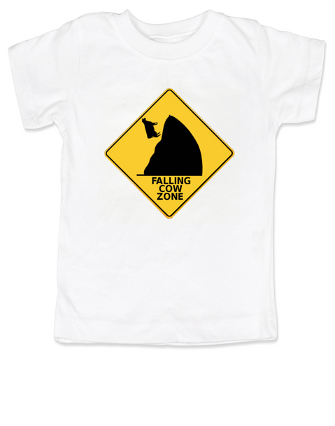 falling cow toddler shirt, silly random toddler t-shirt, warning sign kid t shirt, watch out for falling cows, white