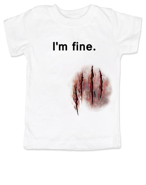 bloody wound halloween shirt, zombie attack toddler shirt, funny toddler Halloween, Halloween Party shirt, Halloween kid tee, Cool Halloween toddler shirt, Funny Halloween kid Clothes, I'm fine wound shirt