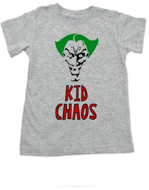 Kid Chaos toddler shirt, Batman Villain toddler shirt, Bad Guy kid, The Joker toddler t-shirt, Halloween kid tee, Halloween toddler shirt, Joker kid tee, Unique Halloween shirt, Chaotic toddler, Funny Halloween kid Clothes, cool Toddler Halloween Shirts, crazy toddler shirt, grey