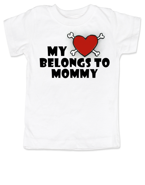 My heart belongs to Mommy toddler shirt, I love my mommy kid t shirt, My mommy rocks, Badass mom toddler t-shirt, Valentines day toddler shirt, Rock n Roll Valentine's, Badass kid Valentine