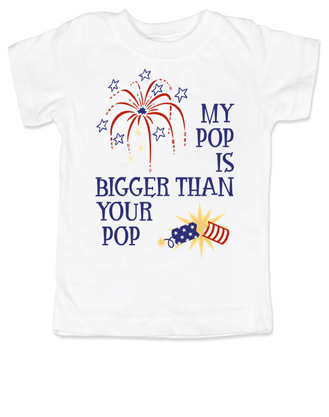 My Pop is bigger than your pop, 4th of July toddler shirt, patriotic kid clothes, funny Fourth of july toddler shirt, Independence day toddler t-shirt, memorial day toddler shirt, veterans day toddler shirt,  red white and blue kid, Funny 4th of July, My dad is bigger than your dad