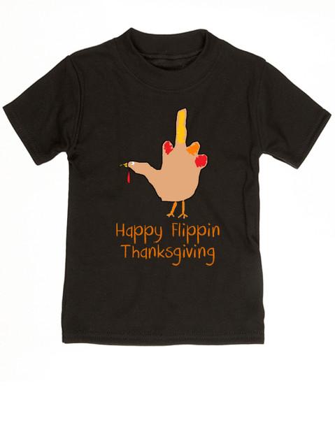 Hand Turkey toddler shirt, Happy Flippin Thanksgiving, Funny Thanksgiving toddler shirt, funny turkey shirt for kid, black