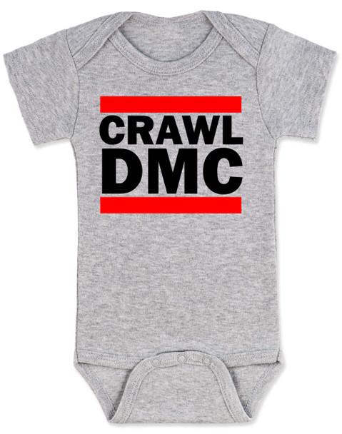 Crawl DMC baby Bodysuit, Run DMC baby clothes, grey