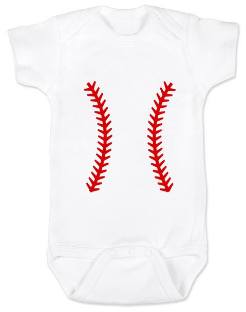 baseball baby Bodysuit, baseball threads baby Bodysuit