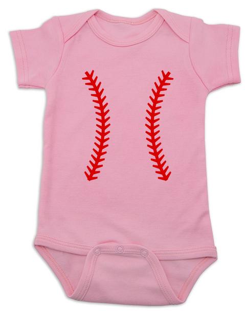 baseball baby Bodysuit, baseball threads baby Bodysuit pink