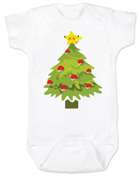 pokemon christmas baby Bodysuit, holiday geek baby, pikachu christmas tree, funny christmas baby clothes