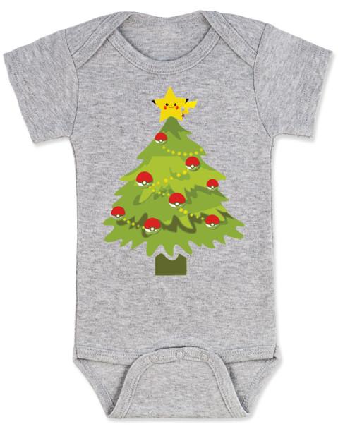 pokemon christmas baby Bodysuit, holiday geek baby, pikachu christmas tree, funny christmas baby clothes, grey