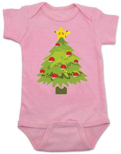 pokemon christmas baby Bodysuit, holiday geek baby, pikachu christmas tree, funny christmas baby clothes, pink