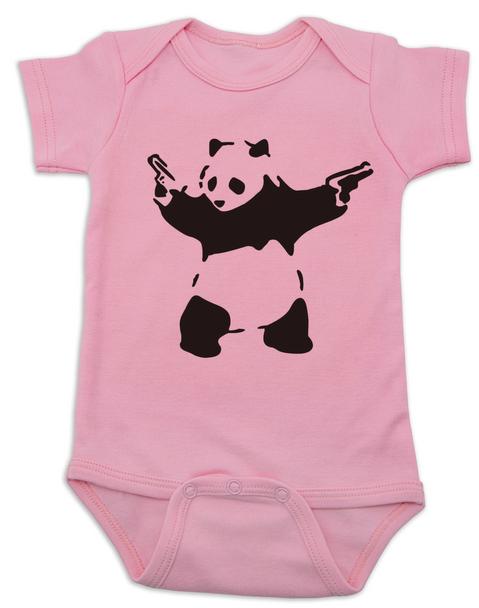 Banksy panda with guns baby Bodysuit, Banksy baby clothing, pink