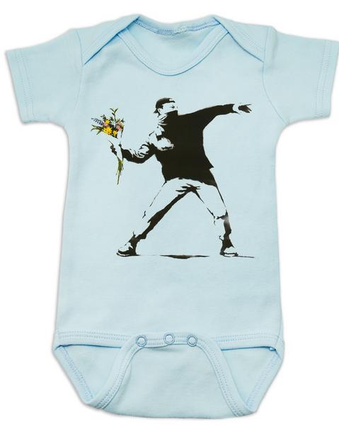 Banksy flower thrower baby Bodysuit, Banksy baby clothing