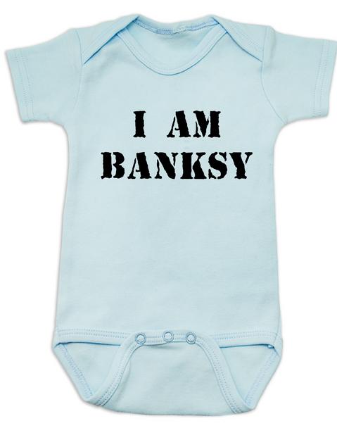 I am Banksy baby Bodysuit, Banksy baby clothing, blue