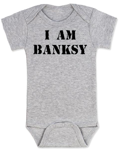 I am Banksy baby Bodysuit, Banksy baby clothing, grey