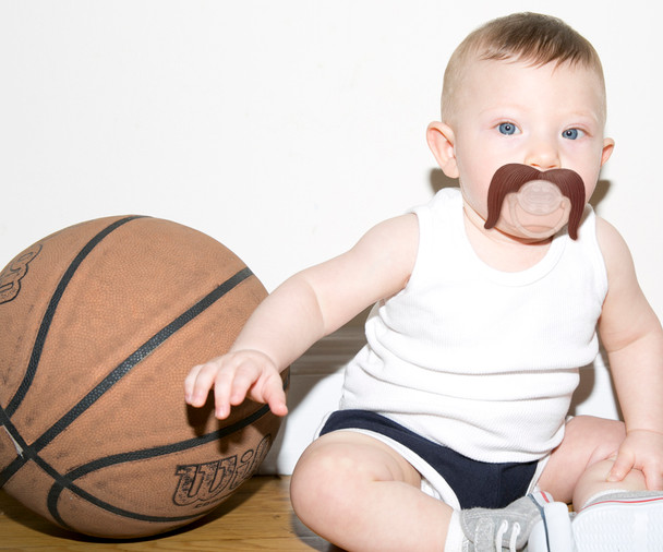 Mustache Pacifier, Mustachifier, The Cowboy, Handlebar mustache, funny baby pacifier, funny mustache pacifier, baby shower gift add-on, best baby gift, funny boy binky, mustache binkie, fake mustache on baby, baby with mustachifier